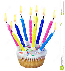 Birthday cupcake with burning candles