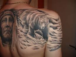 Mother Teresa And Bear Tattoo On Back
