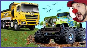 100 Funny Truck Pics Construction Vehicles Loader Clown Bob Unboxing Toy RC