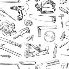 Vector Seamless Pattern With Hand Drawn Common Tools Used By Carpenters Craft Woodwork Screwdriver