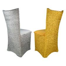 Sparkle Spandex Chair Covers - Silver Or Gold Sonnis Pack Of 4 Stretch Chair Coverschair Slipcovers Washable Removable Seat Covers Elastic Protector Chairs For Hotel Restaurant Wedding Teresting Chair Cover Chaircovers Make It Subrtex Square Knit Ding Room Good 5 Sherborne Recliner Ipirations No Corner Spandex Banquet Cover Orange Z Mid Century Modern By For Sale Cushions Surprising Faux Leather Fabric Shorty Rooms Budge Neverwet Hillside 49 In H X 28 W 27 D Tan Black And Chairbarstool Jf From Pillowcases Jackiehouchin Home Ideas Instantly Add Flair Style To Your Kitchen Or Ding Room With