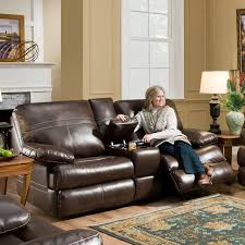 Darrin Leather Reclining Sofa With Console by Weston Home Darrin Leather Reclining Loveseat With Console Black