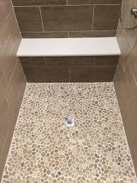 pebble shower tile sliced white bedroom river rock floor ideas