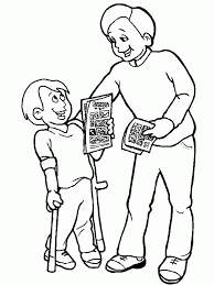 Giving Comic Book A Boy With Disability Coloring Page