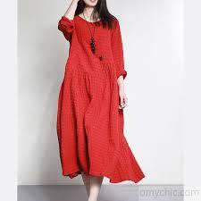 Red Vintage Slik Linen Gowns Plus Size Brier Jacquard Large Hem