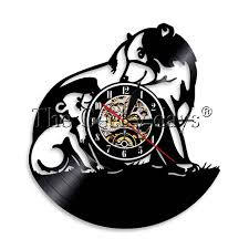 1Piece Bear Vinyl Record Clock Black Family Wall Art LED Light Cub Mother