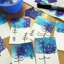 Winter Tree Drawing And Tissue Paper Skies Art Projects For Kids