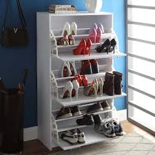 Baxton Simms Shoe Cabinet by 4d Concepts Deluxe Triple Shoe Cabinet White Hayneedle