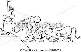 Vector Illustration Of Rat Race Cartoon Coloring Book