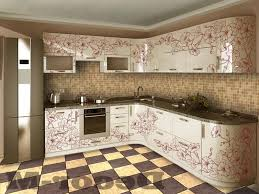 Stunning Red Flower Sticker On White Cabinetry For Kitchen Decoration
