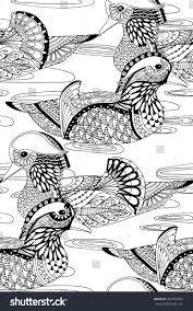 Mandarin Ducks Swimming In Water Seamless Zentangle Bird Design Pattern For Adult Colouring Book