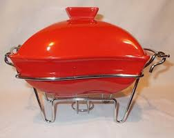 Red Casserole Dish Ceramic Chafing With Cooling Rack Warming Covered Vintage Baking Serving Bowl