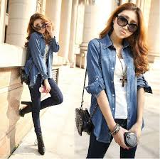 European Style Women Long Denim Blouse Jean Shirt Slim Dark Blue Turn Down Collar Sleeve Female Cowboy Ladies Blouses Blous