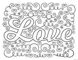 Printable Love Adult Valentines Coloring Pages