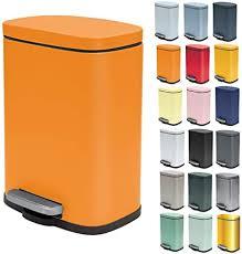 spirella kosmetikeimer 5 liter edelstahl mit absenkautomatik und inneneimer badezimmer mülleimer softclose abfalleimer orange