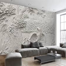 beibehang custom moderne wand papier wohnzimmer hintergrund weiß reliefs kran baum kunst wandverkleidung home decor wandbild tapete