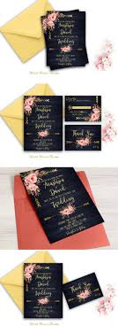 Navy Blue Wedding Invitation Printable Gold Floral Suite Rustic Country