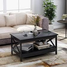 btm modernes x design wohnzimmer couchtisch holz beistelltisch mit lagerregal schwarz