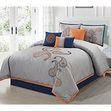 Amazon Chezmoi Collection Naomi 7 Piece Navy Orange Paisley