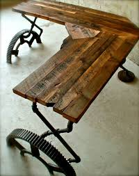 An Awesome Desk - Made From Old Pipes, Bridge Gears, And Salvaged ... Square Old Barn Wood Pop Up Table With Clear Coat Coffee Sets Reclaimed Side Weathered Reclaimed Wood Coffee Table Fniture And Barnwood Custmadecom Metal Ding 8 Steel Pinterest Custom By Pinestock Made From A 80 Year Old Barn Door For Sue Lynn Living Room Awesome Rustic Hand Crafted Aged And The Wardrobe I Frightening Tables Pictures