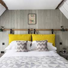 Grey White Bedroom With Wood Panelling