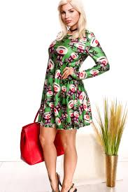 green christmas multi print long sleeve round neckline casual