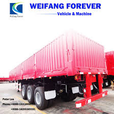 100 Semi Truck Trailers 50tons Flatbed Cargo With Side Wall For