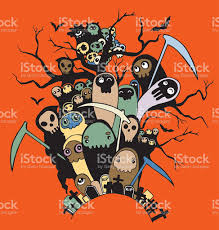 Characters For Halloween by Hand Drawn Cute Death Skeleton Characters For Halloween Stock