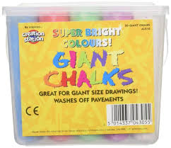 Coloured Chalk For Children Tub Of 20 Giant Assorted Colours: Amazon ...