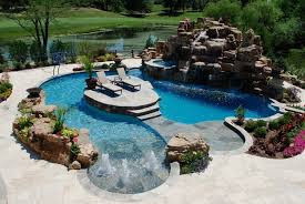 Custom Pool With Island Slide Rock Mountain Diving Board Hot Tub