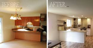 Before And After Kitchen Remodels Classic Wooden Style Remodel Into Modern Design With U Shape White Cabinets For Saving Cooking Materials
