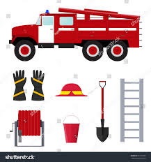 Firefighter Profession Equipment Tools Flat Design Stock Vector ...