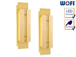 2 stk led wandleuchte in goldfarbig dimmer l 30cm wohnzimmer wandle design
