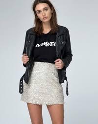 high waisted iced sequin a line skirt weaver motel rocks