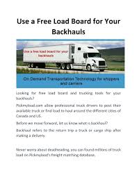 Use A Free Load Board For Your Backhauls By Loadboardcanada - Issuu Truck Load Board Dat Truckersedge 51 Free Places To Find Direct Shippers Equip My Finance Dr Dispatch Software Easy Use For Trucking And Brokerage Lorenc Filmon In Top Spots On Centreport Board Winnipeg Press Load Boards Findtruckload Twitter Nextload A Truckers Brokers The Ingrated Freight Matching Transportation Execution Platform High Loadtotruck Ratios Kick Off 2017 Logic Tailwind Tms Cool Astounding Canada Intermodal Auto Transport List Car Haulers Hauler