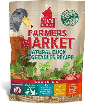 Plato Farmers Market Natural Duck & Vegetables Recipe Dog Treats - 14oz