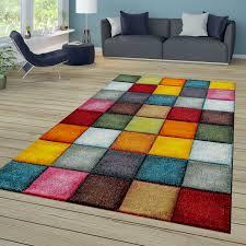kurzflor teppich mosaik stil rot gelb grün blau