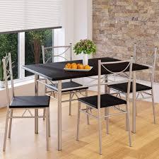 casaria esstisch küchentisch mit 4 stühlen esszimmergruppe essgruppe küche tisch stuhl set farbe schwarz