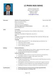 Huu Bang S R 233 Sum Sample Of Resume For Internship In Malaysia