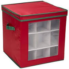 Household Essentials 552Red Medium Christmas Tree Ornament Storage Box Stores Up To 27 Xmas Ornaments