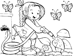 Girl Watering Flowers In The Garden Coloring Picture For Kids
