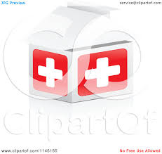 Clipart Of A 3d First Aid Hospital House