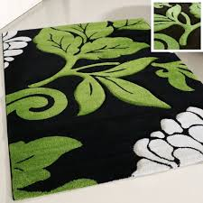 80x150 cm kurzflor wohnzimmerteppich grün gecarvte florale muster my906g