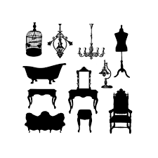 Instant Download Antique Vintage Furniture Silhouette Graphics Victorian Ornate Fancy Bathtub Chandelier Candelabra