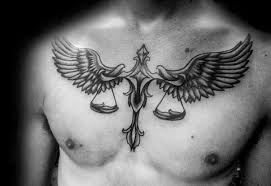 Libra Horoscope Tattoo On Chest For Men Photo
