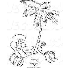 Vector Of A Cartoon Woman Buried In Sand Under Palm Tree
