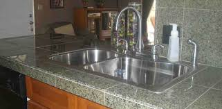 undermount porcelain kitchen sink granite countertops tile