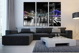 3 Piece Wall Decor Living Room Black And White City Art