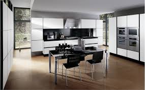 Interior Apartment Furniture Designs Using Black And White Kitchen