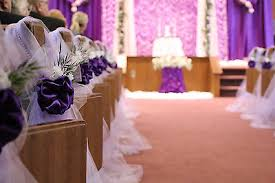 2 Of 4 Purple Wedding Decorations Chair Bows Pew Satin Church Aisle Decor